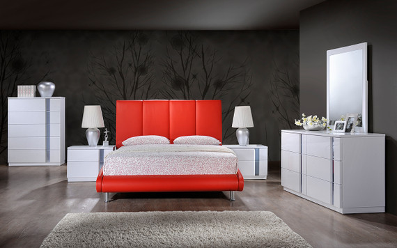 8272-R / Jody  Red PU Bed/WH