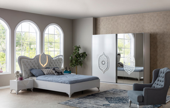 Tugra Bedroom White/Silver