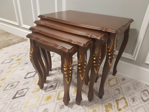 MFS145G Nesting Table - Natural Walnut with Gold