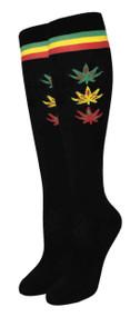 Julietta Knee-High Socks - Rasta Plant Black (SR442) - 1 Dozen