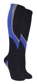 Heavy Cushion Sport Compression Socks - Black/Blue (Size: 9-11, 10-13) - 1 dozen
