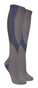 Heavy Cushion Sport Compression Socks - Grey/Blue (Size: 9-11, 10-13) - 1 dozen