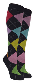 Compression Socks - Black/Color (Size: 9-11) - 1 dozen