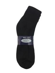 Socks Plus Diabetic Ankle Socks - Black (13-15) - 1 dozen