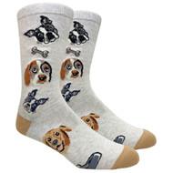 FineFit Novelty Socks - Dog Lovers Beige (NV078A) - 1 Dozen