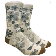 FineFit Novelty Socks - Hawaiian Flower - Beige (NV083A) - 1 Dozen