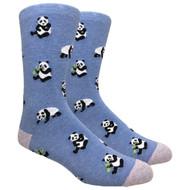FineFit Novelty Socks - Panda - Heather Blue (NV086B) - 1 Dozen