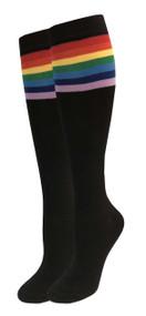 Julietta Knee-High Socks - Black with Rainbow Stripes (SR452B) - 1 Dozen