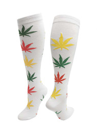 Julietta Knee-High Socks - White with Rasta Leaves (SR453) - 1 Dozen