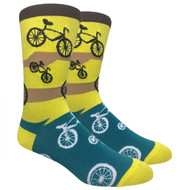 FineFit Novelty Socks - I Want to Ride My Bicycle (Yellow) - 1 Dozen