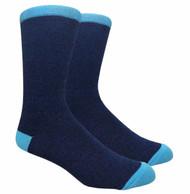 FineFit Plain Dress Socks - Heather Navy w/ Light Blue Heel & Toe - 1 Dozen