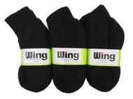 Wing Sports Ankle Socks - Black (Size: 4-6) - 1 dozen