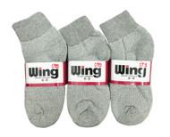 Wing Sports Ankle Socks - Grey (Size: 6-8) - 1 dozen