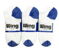 Wing Sports Low-Cut Socks - White/Royal Blue H&T (Size: 9-11) - 1 dozen