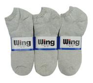 Wing Sports Low-Cut Socks - Grey (Size: 9-11) - 1 dozen