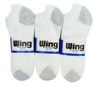Wing Sports Low-Cut Socks - White/Grey (Size: 9-11) - 1 dozen