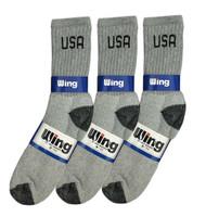 Wing Crew Sport Socks - Grey/Black USA Logo (Size: 9-11) - 1 dozen