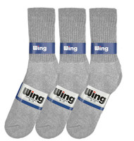 Wing Crew Sport Socks - Grey (Size: 9-11) - 1 dozen