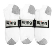 Wing Sports Low-Cut Socks - White/Grey (Size: 10-13) - 1 dozen