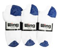 Wing Sports Low-Cut Socks - White/Royal Blue (Size: 10-13) - 1 dozen