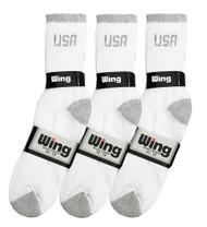 Wing Sports Crew Socks - White/Grey USA Logo (Size: 10-13) - 1 dozen