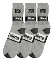 Wing Sports Crew Socks - Grey/Black USA Logo (Size: 10-13) - 1 dozen