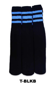 Dreamfield Tube Socks - Black/Light Blue (Size: 10-13, 10-15) - 1 dozen