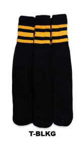 Dreamfield Tube Socks - Black/Gold (Size: 10-13, 10-15) - 1 dozen