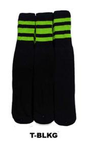 Dreamfield Tube Socks - Black/Lime (Size: 10-13, 10-15) - 1 dozen