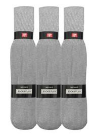 Socks Plus Tube Socks - Grey (Size: 10-13, 10-15) - 1 Dozen