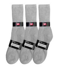Socks Plus Crew Socks - Grey (Size: 10-13) - 1 Dozen