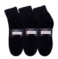 Socks Plus Ankle Socks - Black (Size: 10-13) - 1 Dozen
