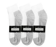 Socks Plus Ankle Socks - White/Grey Bottom (Size: 10-13) - 1 Dozen