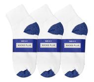 Socks Plus Ankle Socks - White/Royal Blue H&T (Size: 9-11) - 1 Dozen