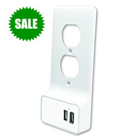 USB 2.1 Charging Duplex Wall Plate 2-Ports, White (FREE USA SHIPPING)