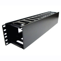 "HORIZONTAL CABLE MANAGER 2U 19"" EIA W/ COVER BLACK PLASTIC, Single Side, comparable to  WMPF1E"