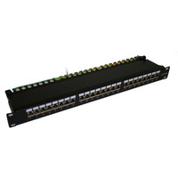 "CAT6A 19"" STP PATCH PANEL, W/24 JACKS  & CABLE MGMT, 1U"