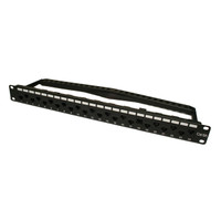 "CAT6A 19"" UTP L0OADED KEYSTONE PATCH PANEL, W/24 JACKS  & CABLE MGMT, 1U"