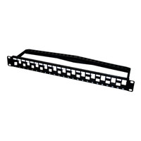24-PORT STAGGERED KEYSTONE PATCH PANEL W/CABLE MGMT, CAT6A COMPLIANT