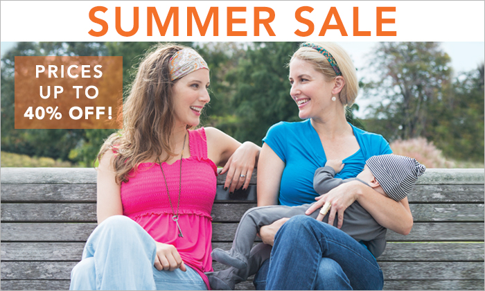 Nursing tops and nursing dresses are on sale now for up to 40% off in our summer nursing wear sale