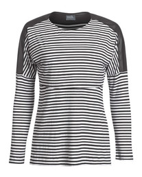 Faux-leather trim black and white striped nursing top