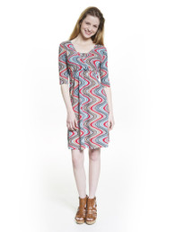 Crossover dress for maternity and nursing in wave print