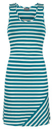Striped nursing tank dress in teal