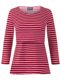 Red stripe 3/4 sleeve nursing top
