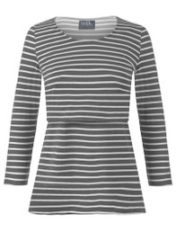 Gray stripe 3/4 sleeve nursing top