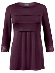 Tiered nursing top with lace trim
