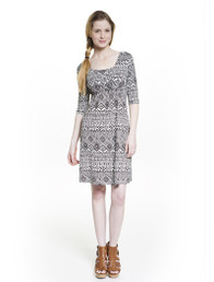 Crossover 3/4 sleeve nursing dress in black and white print