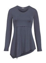 Asymmetrical hem v-neck nursing top