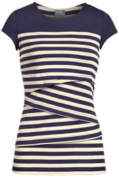 Striped solid yoke nursing top in navy