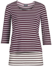 Contrast striped nursing top in maroon